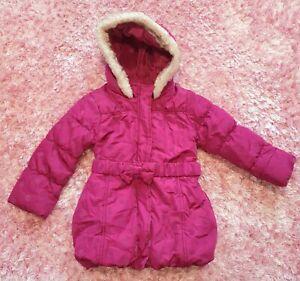 Girls Red Polka Dot Spotty Fur Hood Parka Puffer Jacket Coat Size 2 - 3 years