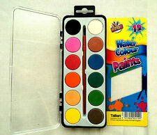 NEW ART BOX 12 colori acqua vernici & Pennello Kids Art Craft Paint Set Acquerelli