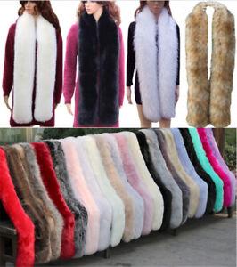 Women Faux Fur Scarf Long Soft Collar Shawl Wrap Stole Fluffy Winter Warm
