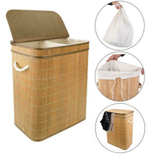Bamboo Laundry Hamper Basket Home Washing Clothes Storage Bin Stand Large Small