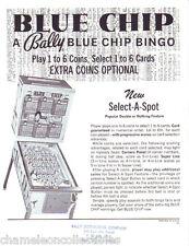 BLUE CHIP By BALLY 1975 NOS ORIGINAL BINGO PINBALL MACHINE SALES FLYER BROCHURE