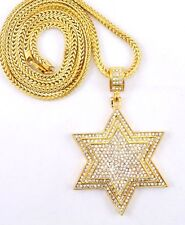 "Hip Hop Cubic Zirconia 3D Gold Tone Star Necklace 36"" Franco Chain Bling"