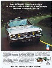 PUBLICITE ADVERTISING 044 1973 SIMCA Chrysler 2 litres automatique automobile