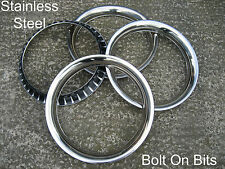 """4 Stainless Steel Chrome Trim Rings for 14"""" Rostyle Steel Wheels MG B C GT"""