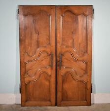 "*62"" Tall Pair of Antique French Solid Oak Wood Doors mid 1800's Salvage"