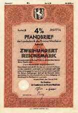 Westdeutsche Landesbank Bank der Provinz Westfalen Münster Anleihe 1942 WestLb