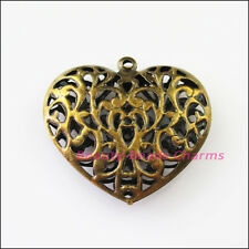 2Pcs Big Hollow Flower Heart Charms Pendants Antiqued Bronze Plated 38x40mm