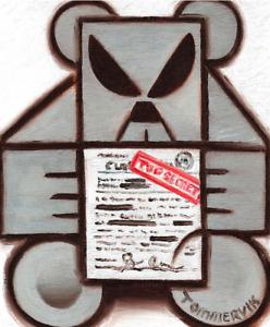 ALIEN UFO WALL ART TEDDY BEAR FLYING SAUCER TOP SECRET ARTWORK ORIGINAL PAINTING