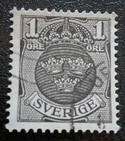 Sweden:1910 -1911 National Coat of Arms 1ÖRE Rare & Collectible Stamp.
