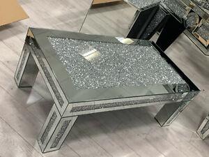 Mirrored Coffee Table Diamond Crystal Living Room Crushed Diamond Furniture