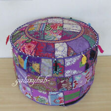 New Indian Vintage Patchwork Pouf Ottoman Round Ottoman Cover Footstool Ethnic