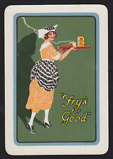 1 Single VINTAGE Playing/Swap Card OLD WIDE ADV COCOA THE FRY GIRL Green