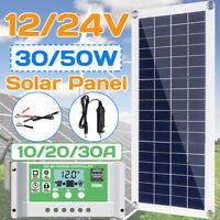 50W 12V/24V Solar Panel USB Battery Power Charger + 10/20/30/A Solar Controller