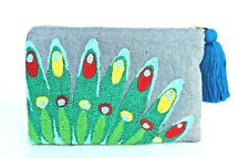 Women Boho Ethnic Embroidered Clutch Bag Handmade Purse Peacock w/zipper