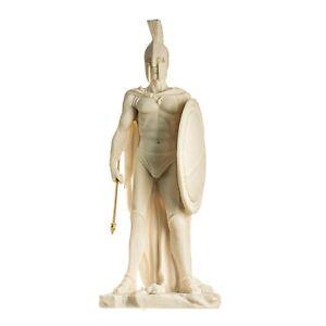 "LEONIDAS Statue Greek Spartan King Sculpture Figure Alabaster 13.77"" / 35cm"