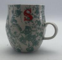 Anthropologie Homegrown Monogram Stoneware Mug Personalized Initial Letter S