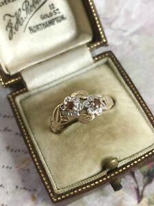 Vintage 14ct Yellow Gold Pretty Ruby & Diamond Double Flower Ring Size M1/2