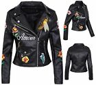 BLOUSON MOTARD Femmes Veste en simili-cuir similicuir noir avec broderie florale