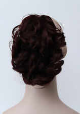 Burgundy Short Curly Wavy claw clip Women ponytail Daily Hair Extensions