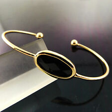 BANGLE BRACELET GENUINE REAL 18K YELLOW G/F GOLD BLACK ONYX CUFF BEAD DESIGN