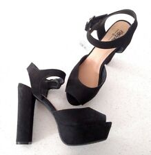 New Women's Mossimo Open Toe Faux Suede Ankle Strap High Heel Pump Black Sz 7.5