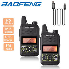2x Baofeng BF-T1 Mini UHF Walkie Talkies FM Two Way Ham Radio + Program Cable
