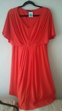M&S  red dress size 14, v neck, viscose NEW with tags.