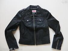 Levi's® Jeans Jacke, Lederjacke Gr. S, schwarz wie NEU ! Echt-Leder Bikerjacke !