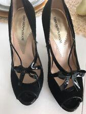 Emporio Armani Calf Hair Bow Heels 37 Black Peep Toe $595