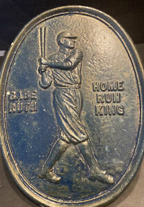 """EXCEPTIONAL SCARCE BASEBALL VINTAGE BABE RUTH """"HR KING"""" HEAVY METAL PLAQUE 11"""""""