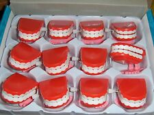 12 Toy 2 inch Red Wind Up Chattering Teeth Office Birthday Party Novelty Favors