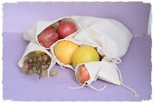 """8"""" x 12"""" inches 100% Cotton Double Drawstring Premium Quality Bags, Food Grade"""