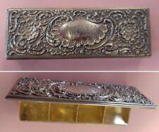 PRETTY STERLING SILVER STAMP BOX GOLD WASHED INTERIOR WM B DURGIN  (1853-1935)