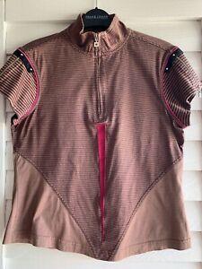 Jamie Sadock Women's Brown Striped Short Zipper Sleeves 1/2 Zip Pullover Top, S