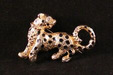 "Very Lovely 1.5"" Brass Leopard Brooch Pin with Faux Jewel"
