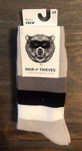PAIR OF THIEVES ~ NWT Men's 3-Pair Crew Socks Moisture Wicking ~ Size 8-12
