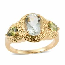 GENUINE GREEN AMETHYST & GREEN APPLE SIMULATED DIAMOND SOLITAIRE ACCENTS RING 5