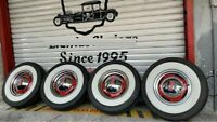 "15"" wheels Tyre 3"" wide whitewalls port a wall set pack of 4 west coast hot rod"