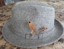 Vintage Adam New York Gray Fedora Irish Walking Hat Wool Cap Feather M 7-7 1/8