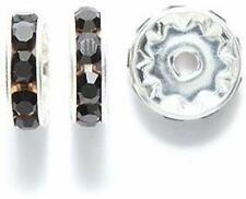 Preciosa Rhinestone Rondelle Beads, 10mm, Jet, 24-piece