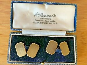 VINTAGE 9CT YELLOW GOLD CUFFLINKS - FITTED BOX