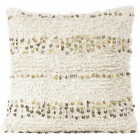 "20"" Beige Cream Woven Tufted Shag Sequined Cushion Pillow Cover Case Fringe Sofa"