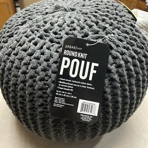 Urban Shop Round Knit Pouf, Gray New With Tags