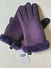 Ugg Australia Women's Shorty Warm Trim GLOVE Sheepskin Suede Nightshade M-BNWT