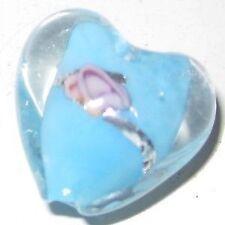 5 un. Murano Corazón Perlas De Vidrio - 15mm-Aqua-a4042
