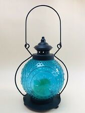 """Iron & Glass Candle Holder Lantern Outdoor Patio Garden Deck Battery Light 11"""""""