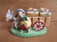 Japanese Lustre Ware Cruet Set Salt & Pepper Lady Donkey & Cart Free UK Post