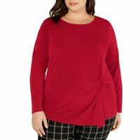 INC NEW Women's Red Plus Size Asymmetric Twist Blouse Shirt Top 2X TEDO