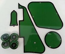 Pickguard,Back Plates,Truss Rod Cover,Knobs.Fits Gibson Les Paul.Green/Black JAT