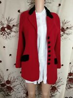 Cashmere & virgin wool luxurious quality red /black jacket blazer size m 12UK b4